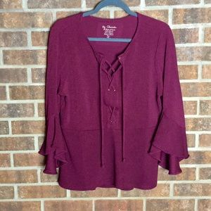 Chico's 2 Criss Cross Front Ruffle Sleeve Blouse